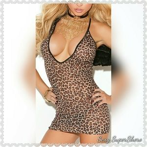 🆕Sexy Leopard Print Deep V Mini Lingerie Dress